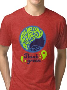 Think Green, Ecology Concept icon, woman half face silhouette Tri-blend T-Shirt