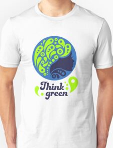 Think Green, Ecology Concept icon, woman half face silhouette Unisex T-Shirt