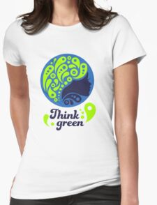 Think Green, Ecology Concept icon, woman half face silhouette Womens Fitted T-Shirt