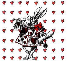 White Rabbit Field Of Hearts Alice in Wonderland by Pixelchicken