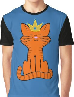 Orange Cat Princess with Gold Crown Graphic T-Shirt