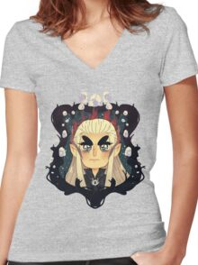 Thranduil White Gems Women's Fitted V-Neck T-Shirt