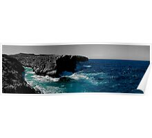 Maltese Cliffs and Rough Sea Panorama - edit Poster