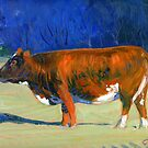 Morning Sun Warmth (cow painting) by COusley622
