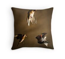 Goldfinch Trio. Throw Pillow