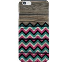 Chevron Pattern on Wood Texture iPhone Case/Skin
