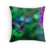 Fine art naturalistic animal photo bird against green background with fuchsia - Hummingbird Throw Pillow