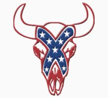 REBEL STEER SKULL red white and blue by Tony  Bazidlo