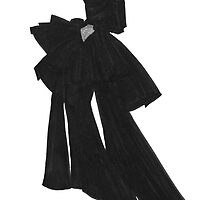 Fashion Illustration 'Black Bow Dress' Fashion Art by Alex Newton