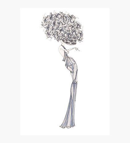 Fashion Illustration 'Blue Willow Dress' Fashion Art Photographic Print