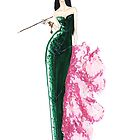 Fashion Illustration 'Green Sequinned Dress' Fashion Art by Alex Newton