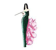 Fashion Illustration 'Green Sequinned Dress' Fashion Art Photographic Print