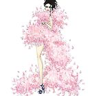 Fashion Illustration 'Pink Feathers' Fashion Art by Alex Newton