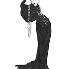 Fashion Illustration 'Velvet Star Dress' Fashion Art by Alex Newton