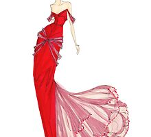 Fashion Illustration 'Venetian Red Dress' Fashion Art by Alex Newton
