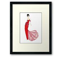 Fashion Illustration 'Venetian Red Dress' Fashion Art Framed Print