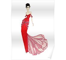 Fashion Illustration 'Venetian Red Dress' Fashion Art Poster