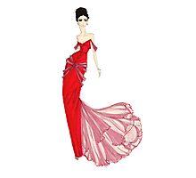 Fashion Illustration 'Venetian Red Dress' Fashion Art Photographic Print