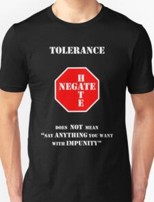 """Tolerance Does Not Mean """"Say Anything You Want with Impunity"""" T-Shirt"""