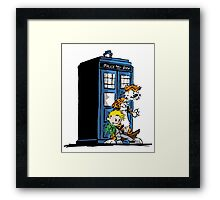 calvin and hobbes police box in action Framed Print