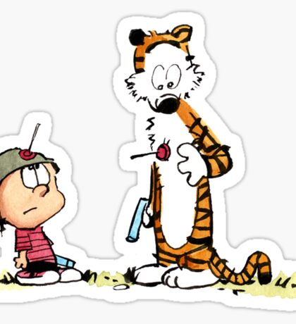 Calvin And Hobbes playing Sticker