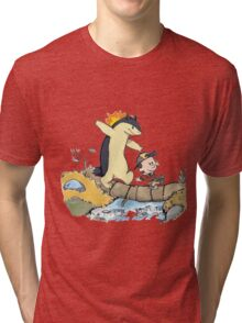 calvin and hobbes meets pokemon Tri-blend T-Shirt