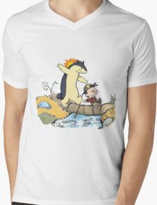 calvin and hobbes meets pokemon Mens V-Neck T-Shirt
