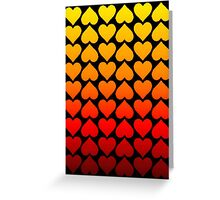 Love Hearts On A Black Background Greeting Card