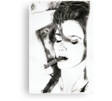 smoking cigar.. pencil Canvas Print