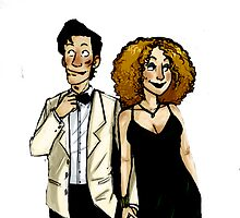 River Song and The doctor by rosawithlie