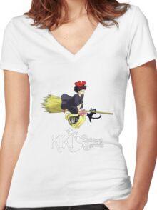 Kiki's Delivery Service-Studio Ghibli Women's Fitted V-Neck T-Shirt