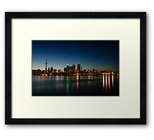 Blue Hour - Toronto's Dazzling Skyline Reflecting in Lake Ontario Framed Print