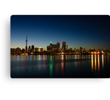 Blue Hour - Toronto's Dazzling Skyline Reflecting in Lake Ontario Canvas Print