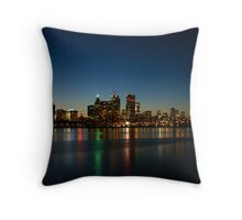 Blue Hour - Toronto's Dazzling Skyline Reflecting in Lake Ontario Throw Pillow