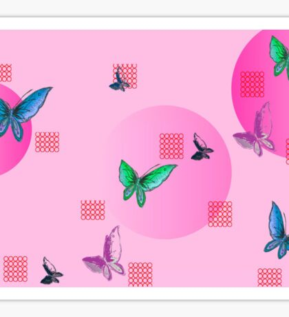 Soft pink with butterflies and squares. Sticker