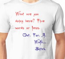 Buffy & Spike Quote - Out for a walk. Bitch. Unisex T-Shirt