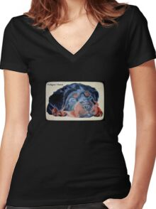 Rottweiler Puppy Portrait With Pedigree Charm Greeting Women's Fitted V-Neck T-Shirt