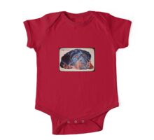 Rottweiler Puppy Portrait With Pedigree Charm Greeting One Piece - Short Sleeve