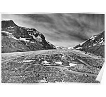 Athabasca Glacier in Black and White Poster