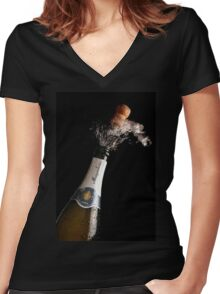 Celebration Theme With Exploding Champagne Women's Fitted V-Neck T-Shirt