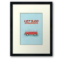 Volkswagen Bus Samba Vintage Car - Hippie Travel - Let's go somewhere Framed Print
