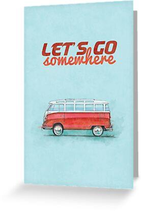 Volkswagen Bus Samba Vintage Car - Hippie Travel - Let's go somewhere by merhab