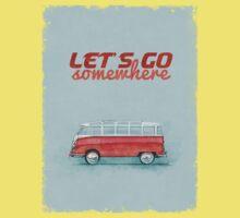 Volkswagen Bus Samba Vintage Car - Hippie Travel - Let's go somewhere One Piece - Short Sleeve
