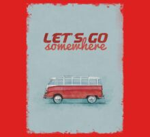 Volkswagen Bus Samba Vintage Car - Hippie Travel - Let's go somewhere Baby Tee