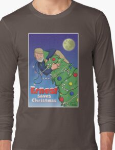 Ernest (Hemingway) Saves Christmas Long Sleeve T-Shirt