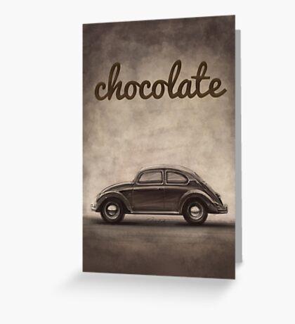 Chocolate - Volkswagen Beetle - Vintage VW Bug Greeting Card