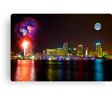 Moon and Fireworks over Miami Canvas Print