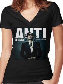 Rihanna Anti World Tour Women's Fitted V-Neck T-Shirt