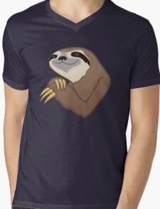 Happy Sloth Mens V-Neck T-Shirt