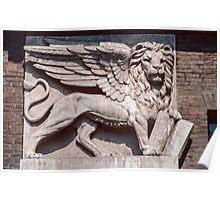 Lion on central arch of civic building Palazzo del Capitano Piazza dei Signori Verona Italy 19840419 0040 Poster